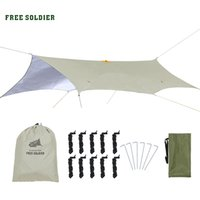 Wholesale free shelter - FREE SOLDIER outdoor sports camping hiking tactical awning shelter sunshade for travelling rain fly PU waterproof mat