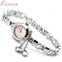 любовь часы наручные часы оптовых-KIMIO Simple Small Dial Love Decoration Bracelet Ladies  Women  Watches Womens Quartz-watch Female Wristwatch
