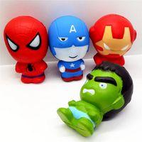 los hombres de hierro se levantaron al por mayor-11 CM Squishy Superhero Avengers Iron Man Capitán América Spiderman Figuras de Acción Colección de Regalos de Juguetes para Niños Slow Rising Toys