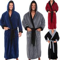 túnica larga de los hombres al por mayor-Abrigo de invierno de los hombres alargado felpa chal albornoz ropa de manga larga bata bata 11.7
