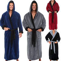 Wholesale shawl robe online - Men s Winter Lengthened Plush Shawl Bathrobe Home Clothes Long Sleeved Robe Coat