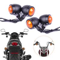 cromo motocicleta señales de giro al por mayor-Luz indicadora de señal de giro de la motocicleta Ámbar Moto Intermitente Faros 12 Lámpara indicadora Bullet Chrome negro nuevo