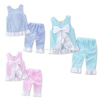 Wholesale grid girl pants resale online - 2017 INS grid set Kids girl lattice outfits Petals side big bow vest and pants suit baby clothes A132