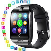 rastreador de pulsera fitbit al por mayor-SmartWatch Bluetooth Phone Watch Para Android Teléfono Fitbit Pulseras inteligentes Q18 fitness tracker Muñequera Soporte TF Tarjeta Retial