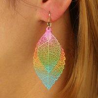 Wholesale Luxury Boho Fashion - Fashion Luxury Boho Hollow Leaf Dangle Earrings Big Rainbow Leaves Long Tassels Drop Earring For Women Jewelry