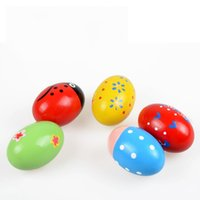 Wholesale wooden maracas toy - Creative Lovely Maraca Toys Children Musical Instruments Toy Wooden Egg Maracas Many Styles 1 8cw C R