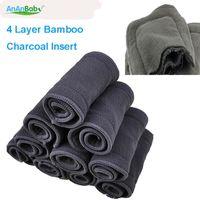 ücretsiz bambu gömlekleri toptan satış-Ücretsiz Kargo 4 Katmanlar Yeni Süper Emici Bambu Kömür Bez Bebek Bezi Ekler Bezi Gömlekleri 10 adet Değişen Pedleri