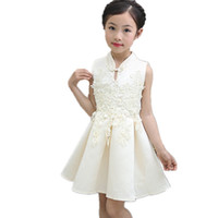 Wholesale chinese girl party dresses resale online - Brand Baby Girl Dress Sleeveless Children Clothing Vestidos Qipao Chinese Style Princess Summer Dress Costume Party Kids Clothes