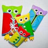 bebek itme toptan satış-4 adet / takım Bebek Itme Baykuş Oyuncak Çocuklar Öğrenme Soyunma Pratik Zip Snap Düğmesi Toka Aşınma Okul Öncesi Eğitim Oyuncaklar Parti Favor AAA939