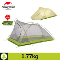 Wholesale Tent Aluminum - Naturehike Tent Camping 2 Person Rainproof 20D Silicone Double Layer Hiking Beach Picnic Holiday Outdoor 2 Colors Camp Tent