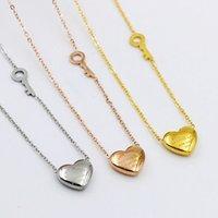 anahtarlık kalp kolye toptan satış-316L Titanyum Çelik Anahtar ve Kalp Kolye Kolye Kadınlar için Zarif Gümüş Gül Altın Gerdanlık Zincir AŞK Kolye moda Takı Toptan