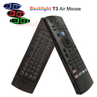 Wholesale ir learning remote - 2.4G Air Mouse Wireless Mini Keyboards for TV Box PC IPTV Universal Backlit Remote Control Support IR Learn T3 Colors Backlight Controller