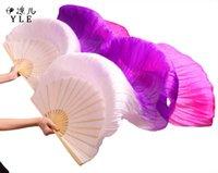 véus cor-de-rosa da dança do ventre venda por atacado-2018 Novas chegadas mulheres de seda do ventre dança fã véus de dança do ventre fãs à venda Branco Pueple Rosa