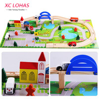 Wholesale block toys vehicles online - 40pcs Set Diy Wooden City Train Track Building Blocks Toy Baby Assemble Traffic Diecasts Toy Vehicles Toys Christmas Gifts