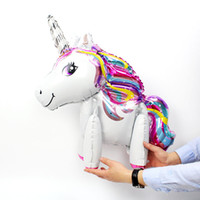 Wholesale unicorn party supplies - 3D Unicorn Balloons New Arrival Cute Aluminum Foil Balloons Birthday Party Decorations Party Supplies Kids Cartoon Toys