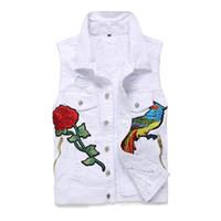 ingrosso mens denim gilet bianco-Giacche di jeans bianco ricamato senza maniche in denim bianco strappato Phoenix di marca di moda uomo strappato fiore