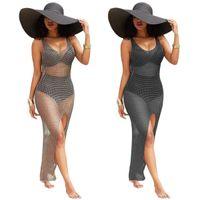Wholesale packaging bikini - 2018 Standard Code Hollow Out Smock Longuette Package Buttocks Will Cashew Bikini Swimwear Loose Coat