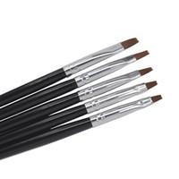 Wholesale Acrylic Set For Nails - Wholesale- 5 Sizes Professional Acrylic Nail Art Brush Set Perfect Use For UV Gel Builder Nal Brushes + Free Shipping