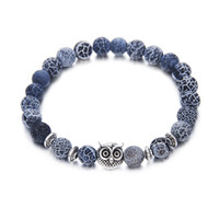 löwen armbänder großhandel-Lava Stein Armband 5 Arten Eule Leopard Lion Achat Perlen Legierung Armbänder Yoga Energie Armband Armreifen 8mm Perlen Schmuck elastischen Armreif