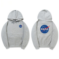 черный бренд с капюшоном оптовых-Осень зима прилив бренд мужской дизайнер НАСА толстовки черный серый хаки унисекс пуловер хлопок толстовка хип-хоп с капюшоном свитер любителей кофты