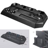 controlador ps4 más frío al por mayor-Multifunción PS4 Pro Cooling Fan 2 Enfriadores Soporte vertical Soporte Dual Controller Charger 3.0 USB HUB DC Plug para PS4 Pro PS VR