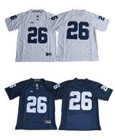 jerseys de fútbol cosido al por mayor-26 Saquon Barkley Jersey 2017 Penn State Nittany Lions Jersey Sin nombre Azul marino Blanco Blanco Fútbol Jerseys cosidos S-XXXL Mixto Orden