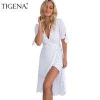 e14b5abd730 TIGENA White Polka Dot Summer Dress Women Sundress 2018 Sexy Wrap Tunic Long  Party Dress Belt Maxi Boho Beach Robe Femme