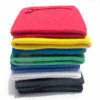 muñequeras al por mayor-Wrist Guard Cotton Sweatband Envolturas de apoyo Sport Strap Protect Wristband Zipper Pocket Brazo exterior Band Venta caliente 2xj V