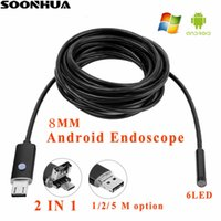 Wholesale mini camera tube - 1m 2m 5m 8MM Lens 2 IN 1 Android PC 1080P HD Endoscope Tube Waterproof Snake Borescope USB Inspection Mini Camera With 6 LED