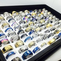 Wholesale mens fashion rings wholesale - New Fashion 100PCs Lot MENS WOMENS STAINLESS STEEL Mix Bulk Jewelry Rings Wholesale Lots