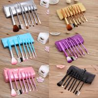 Wholesale purple gold makeup brushes for sale - Group buy 7pcs Set Foundation Makeup Brushes Eyeshadow Powder Eyebrow Eyeliner Make Up Brush Set Professional Cosmetic Tools Kit