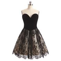 5eddfd1312 Venta al por mayor de Black Lace Velvet Short Prom Dress - Comprar ...