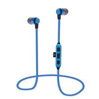 musica deportes mp3 al por mayor-ST-K9 Auriculares inalámbricos Bluetooth Auriculares deportivos con micrófono Auriculares magnéticos metálicos en la oreja Soporte Reproductor de música MP3 Tarjeta micro