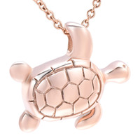 Wholesale 14k turtle - Sea Turtle Stainless steel Cremation Urn Necklace Pendant Ash Holder Mini Keepsake Memorial Jewelry for human ashes