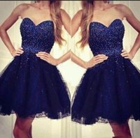 Wholesale strapless cocktail dresses online - 2018 Navy Blue Sweetheart Strapless Tulle Short Homecoming Dresses With Beaded Bodice New Sexy Cocktail Party Dresses