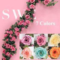 yapay yaprakları yeşil yaprak gül toptan satış-220 cm Yapay Gül Çiçek Vine Düğün Dekoratif Yeşil Yapraklar Ile Gerçek Dokunmatik Ipek Çiçekler Ev Asılı Çelenk Dekor için