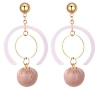 Wholesale Cloth Earrings - 2018 New arrival charm Summer geometric semicircle Cloth art tassel earrings Long temperament fashion earrings 132