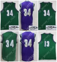 MIL Retro 2017 Basketball Jersey Uomo Donna Gioventù, Firma Firmato Bambini 34 RA 13 GR Throwback Kids All Star Green Purple