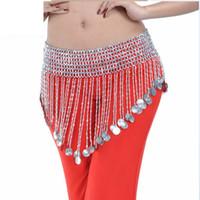 indischer bauchtanz großhandel-Gold Silber Perlen Oriental Bauchtanz Bauchtanz Münzen Gürtel zum Verkauf Frauen Wellen Indian Dance Zubehör Taille Kette