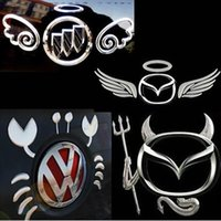 ingrosso badge angeli-Car Sticker Emblem 3D Car Badge Devil Ali di Angelo Impronta di Granchio Sticker Decorazione Auto Sticker Scratch Per Volkswagen Buick Chevrolet