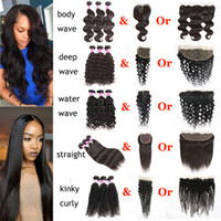 Wholesale brazilian ombre hair - Brazilian Virgin Hair Body Wave Straight Water Deep Natural Wave Kinky Curly With Lace Closure 13x4 Lace Frontal Human Hair Extensions Weft