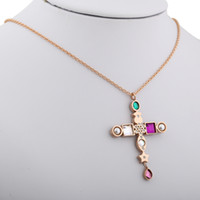 Wholesale geometric necklaces online - TL Spanish Stainless Steel Necklace Luxury Fancy Crystal Cross Geometric Setting With Pearl For Women Fashion Cute Bear Jewelry Necklace