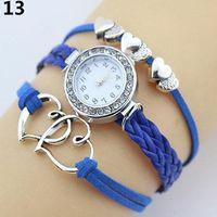 geflechtherz großhandel-Dame Double Heart Charm Multilayer Braid Kunstleder Armband Armbanduhren