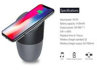 subwoofers bluetooth para iphone al por mayor-Cargador inalámbrico con altavoz Bluetooth habilitado para Qi Carga rápida para subwoofers portátiles de música estéreo para teléfonos celulares con paquete minorista