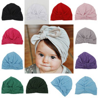 Wholesale cream baby pink for sale - Group buy Lovely Infants hat Knot bow Bunny beanie Maternity Baby Newborn Indian hats colors Spring Autumn Summer Hotsale