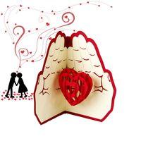 amour de cadeau d'anniversaire achat en gros de-Le plus récent amour dans la main 3D Pop UP carte de voeux Saint-Valentin anniversaire anniversaire de noël cartes de fête de mariage cartes postales cadeaux WX9-266