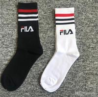 meias japonesas venda por atacado-Japonês e Coreano street dance três bares stripe skate esporte homens e mulheres long barrel retro popular logotipo meias de algodão puro