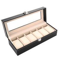 luxo relógio de ponta venda por atacado-High End PU jóias de armazenamento Titular Luxo Retângulo relógio de pulso de exibição Box Com Vidro Janela Organizador New Arrival 26yc BB