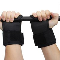 Wholesale Weight Lifting Wrist Support Hook - Pair Adjustable Fitness Wrist Support Weight Lifting Hooks Sport Training Gym Grips Straps Support Gloves