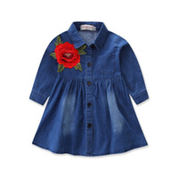 Wholesale embroidered shirts girls - Baby girls Embroidery princess dresses Children Denim Flower shirt Dress 2018 new Kids Boutique Clothing C3578
